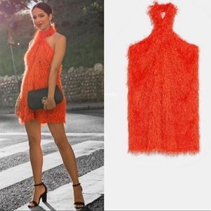 Zara orange fringe halter mini dress